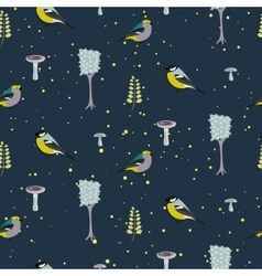 Dark blue forest seamless pattern with birds vector