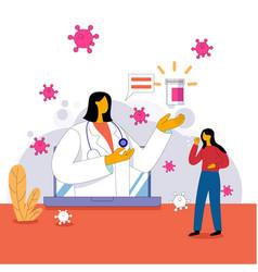 Doctor giving advice through video call vector