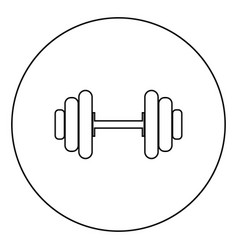 Dumbbell the black color icon in circle or round vector