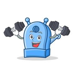 fitness pencil sharpener character cartoon vector image