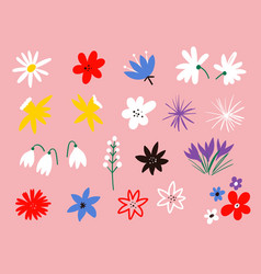 flower icon collection flat cartoon vector image