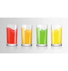 Fruit colored juices transparent glasses vector