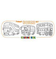 Funny buses with eyes set coloring book set vector