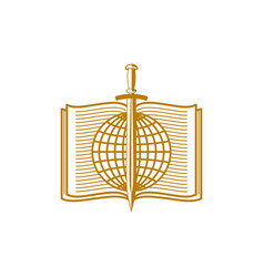 globe and sword on the background of an open bible vector image