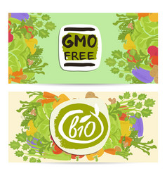 Gmo free horizontal flyers set vector