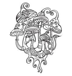 Group of decorative mushrooms vector