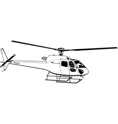 hand drawing civil helicopter monochrome vector image