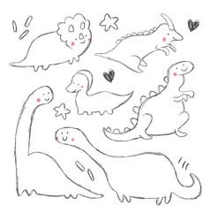 hand drawing dinosaur vector image