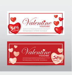 Happy valentine day gift voucher coupon banner vector