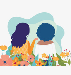 Hello spring back view women flowers decoration vector