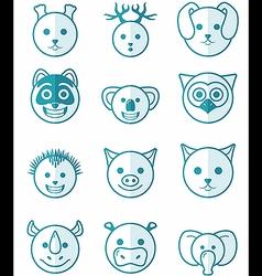 Icon set animals blue vector