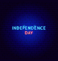 independence day neon text vector image