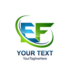 initial letter ef logo template colored green vector image