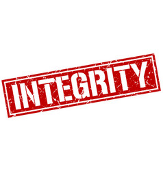 Integrity square grunge stamp vector