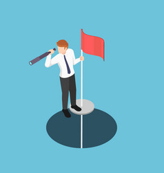 isometric businessman standing on pole with vector image
