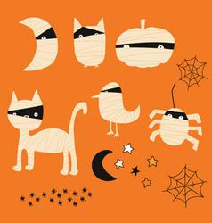 Kids halloween mummy animal icons icon set vector