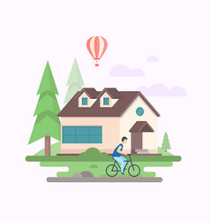 landscape with a house - modern flat design style vector image