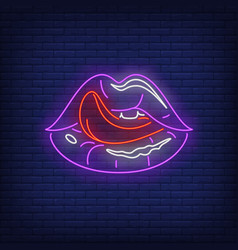 licking lips neon sign vector image