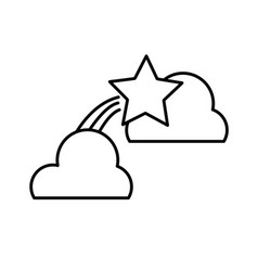 line natural clouds with shiny shooting star vector image