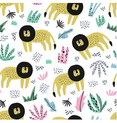 lion flat hand drawn seamless pattern vector image