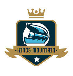 Logo kings mountain crown a bicycle helmet vector