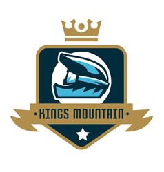 logo kings mountain crown a bicycle helmet vector image