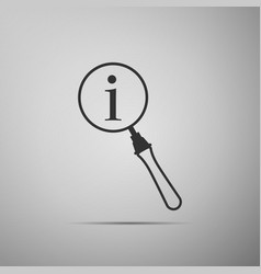 Magnifying glass and information icon vector