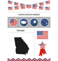 map of georgia set of flat design icons vector image