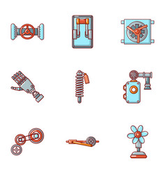 mechanician icons set cartoon style vector image
