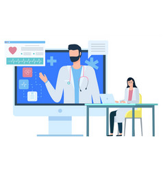Medical consultation doctor and diagnosis vector