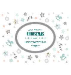 merry christmas and new year card template vector image
