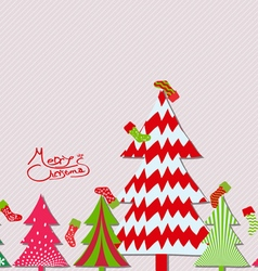 Merry Christmas tree and sock background vector