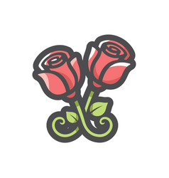 Metal forged roses icon cartoon vector