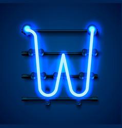 Neon font letter w art design signboard vector