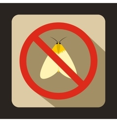 No moth sign icon flat style vector