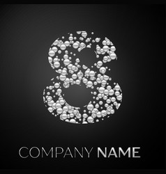 number eight logo silver dots alphabet logotype vector image