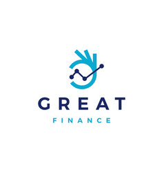 ok hand finance graph chart hand gesture logo icon vector image