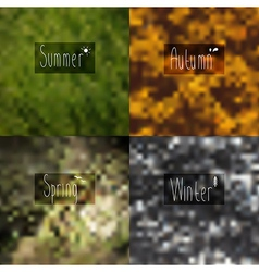 Pixel blurred wallpaper seasons with the words in vector