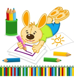 rabbit drawing pencils vector image vector image