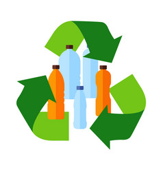 recycle flat icon inside plastic bottles vector image