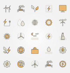 Renewable energy colorful icons vector