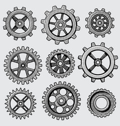 Retro sketch mechanical gears hand drawn vintage vector