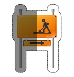 Road sign under construction vector