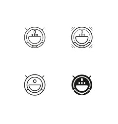 robotic vacuum cleaner icons collection vector image