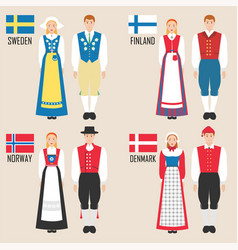 scandinavian man and woman in traditional costumes vector image