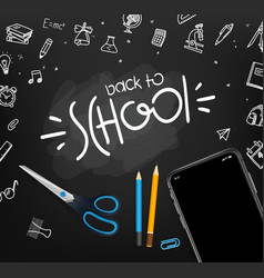 School chalkboard with different objects and vector