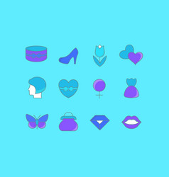 Set simple line icons womens day vector