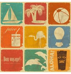 set vintage travel labels vector image