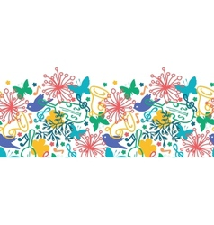 Spring music symphony horizontal seamless pattern vector image