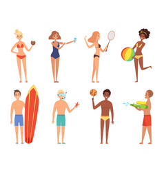 Summer holiday characters woman in bikini have vector
